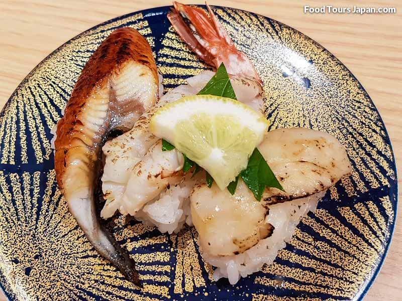 Eel (Unagi) Shrimp (Ebi) Scallop (Hotate) Nigiri