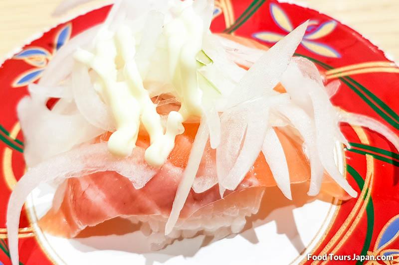Salmon (Sake) Onion Mayonnaise Nigiri – Image credit: Food Tours Japan images/© Chris P King