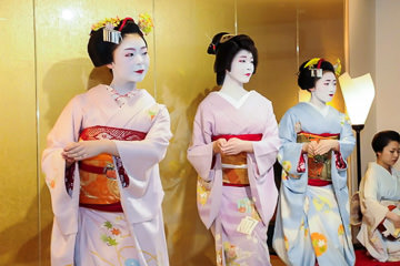 Maiko performing a traditional dance