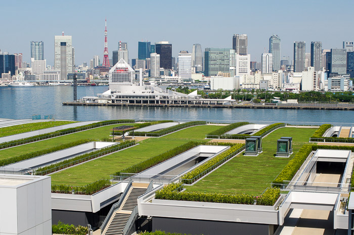 View of Tokyo skyline from Toyosu Market's roof garden
